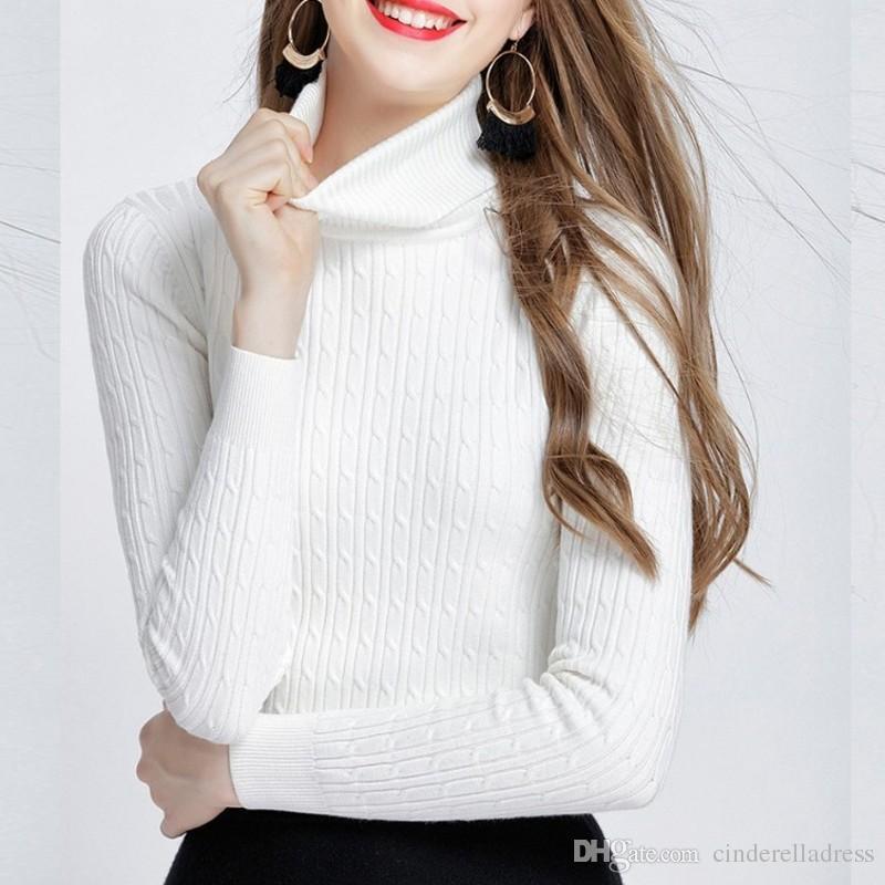 Compre 2019 Invierno Cálido Suéteres Y Suéteres De Las Mujeres De Alta  Elasticidad Suéter De Cuello Alto Grueso Otoño De Punto Trenzado Suéter  Mujeres ... 9b9291dc90bb