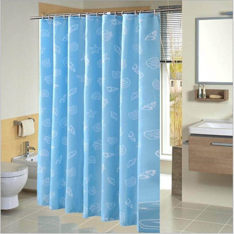 Bathroom Waterproof Shower Curtain Full Of Playful Little Shell Pattern Ocean Blue Thickening