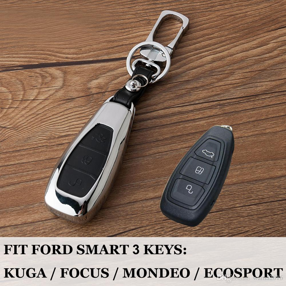 Car Protection key case 3 Buttons Smart keyfob cover shell Bag Zinc Alloy Set For Ford Focus Fiesta Escape Ecosport Kuga C-Max