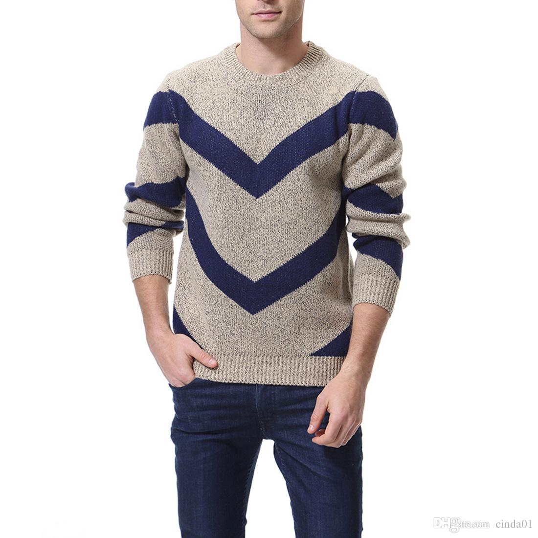 e17a4db940c8 2019 Mens Designer Sweater Autumn Winter Casual Panelled Crew Neck Long  Sleeve Knitted Pullover Asian Size M 3XL From Cinda01, $56.45 | DHgate.Com