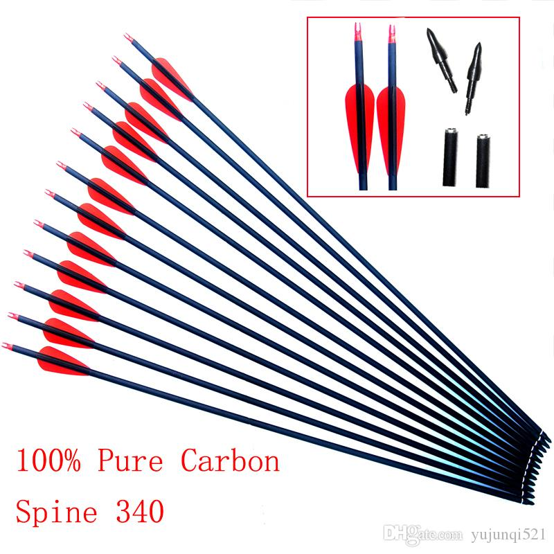 30 Inches Spine 340 Pure Carbon Arrows Diameter 7 6mm for Recurve/Compound  Bows Archery Hunting Shooting