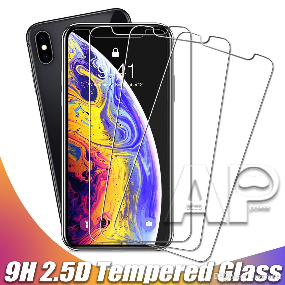 Закаленное стекло экрана протектор для нового iPhone 12 11 Pro XR XS MAX X 8 плюс Samsung Galaxy S9 LG V20 без пакета