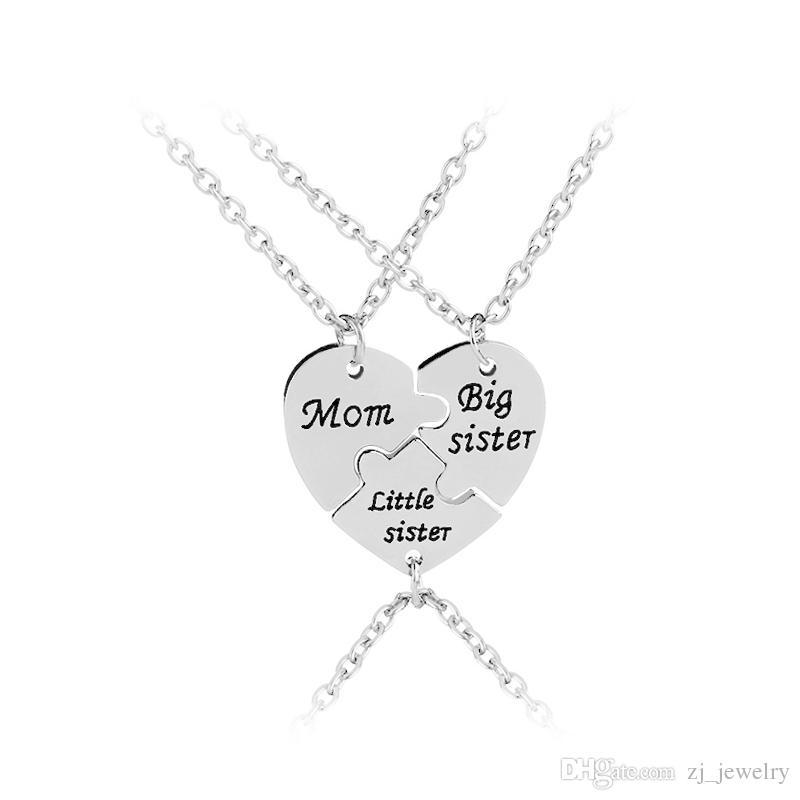 8d4b3b2377e8 mamá hermana mayor hermanita collar de joyería familiar regalo especial para  mamá gran lil sis regalo de la fiesta día de la madre corazón de costura