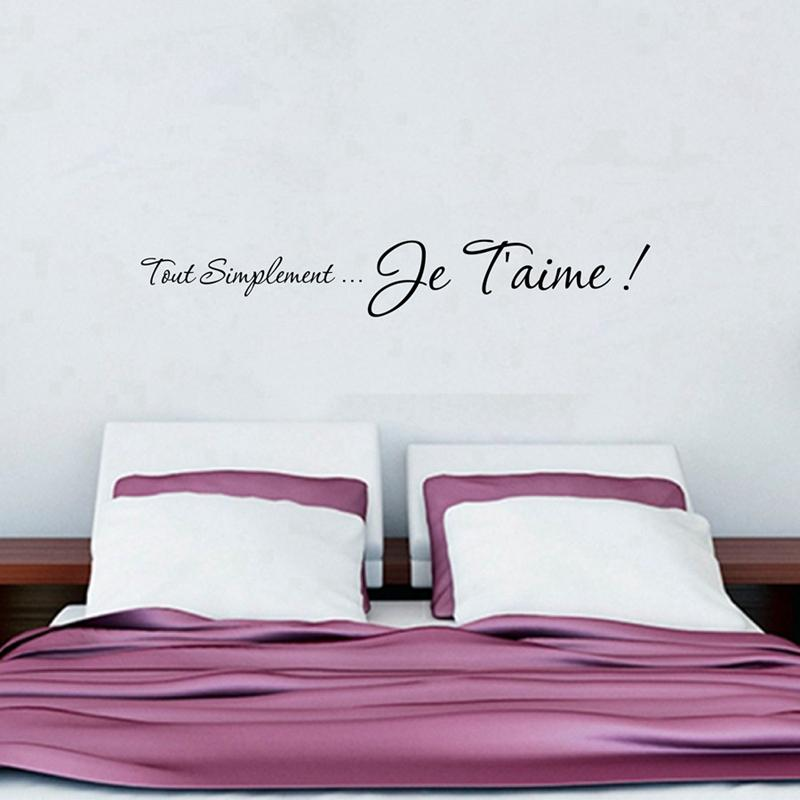 i love you french bedroom wall stickers , romantic wall quote decals