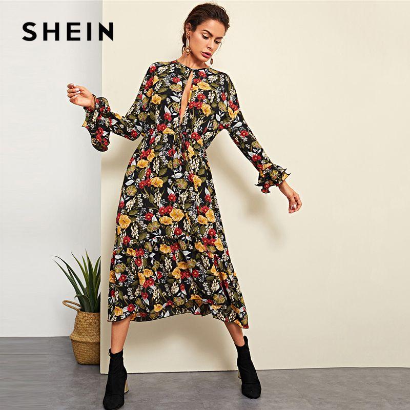 9363bbb793 SHEIN Black Open Front Bell Sleeve Floral Dress Casual Vocation Cut Out  Ruffle Dresses Women High Waist Drawstring Autumn Dress Women Dressing  Styles Black ...