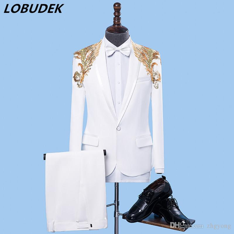 2019 Jacket+Pants Formal Male Suit Dresses White Flash Sequins Blazers Set  Teams Chorus Costume Host Stage Performance Outfit Singer Party Show From  Zhgyong ... 7d311fdcbe8f