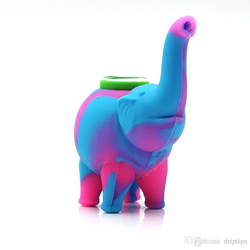 Силиконовые слон трубы со стеклянной чашей мини барботер водопроводные трубы пищевой кремния кальян бонги длина 123 мм