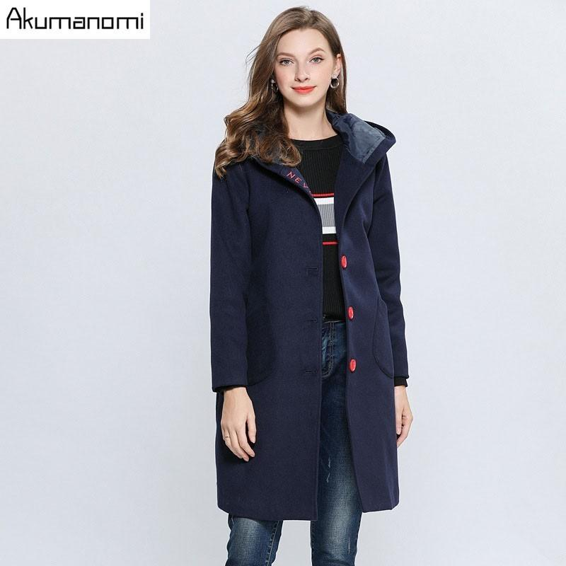 37119bccdec 2019 Winter Navy Blue Coat Women S Wool Blend Trench Coat Hooded Collar  Pocket Letter Embroidery Outerwear Clothing Plus Size 5xl L From Bailanh