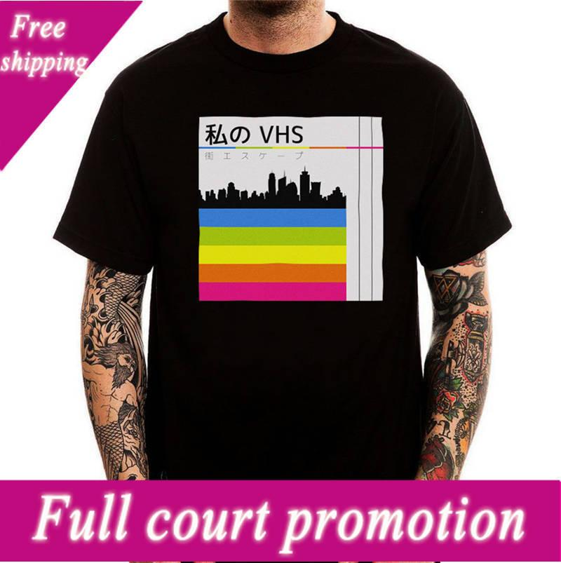 59f0fa04d T Shirt Casual Cotton Sleeve Streetwearvhs Tape Cover Retro Japan O ...