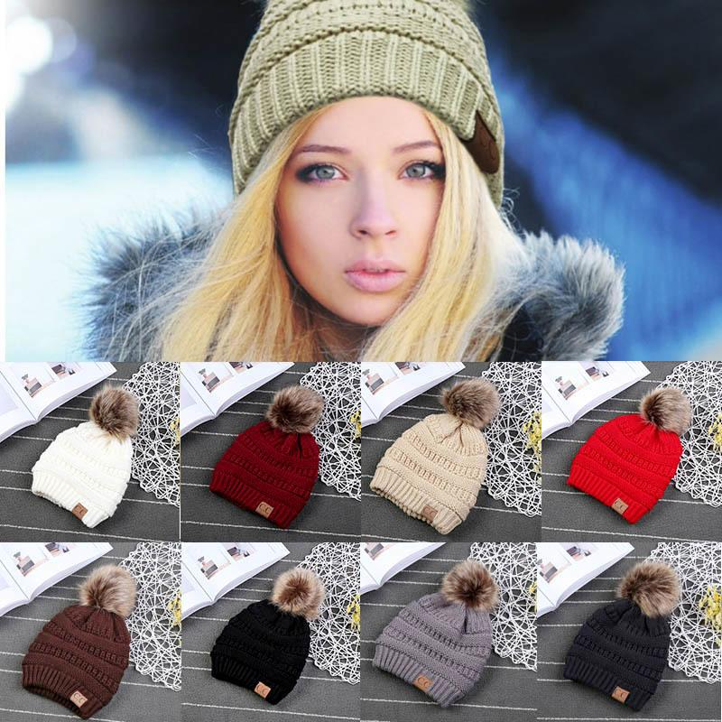 Woman Winter Hat Beanie Cc Faux Fur Pom Pom Ball For Hats Knitted Cap  Skully Warm Ski Hat Trendy Soft Brand Thick Female Caps S926 Knit Cap  Slouch Beanie ... f6c97b497fbc