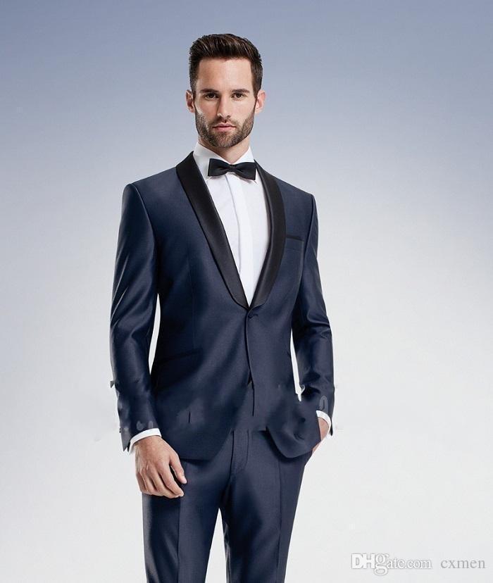 Grosshandel Costom Made Men Anzuge Hochzeit Dunkelblau Smoking
