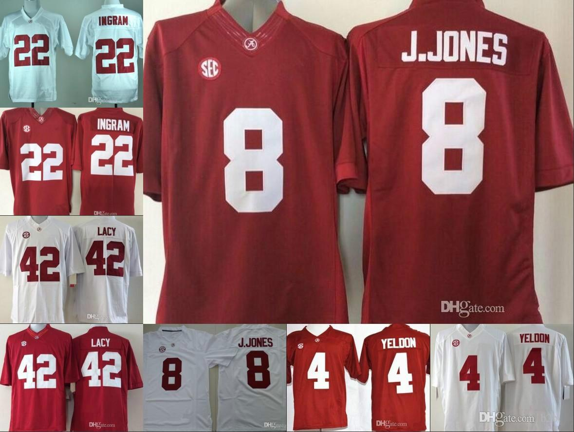 cd86a657c Mens Alabama Crimson Tide  8 Julio Jones 22 Mark Ingram 42 Eddie Lacy 4 TJ  Yeldon Red White Stitched NCAA College Football Jerseys UK 2019 From ...