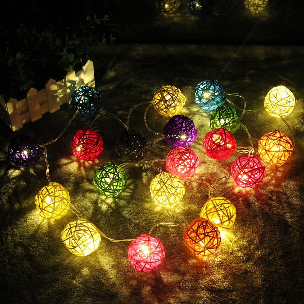 2m string light warm white 20 rattan ball string lights christmas garden wedding party holiday decoration fairy lights c9 led christmas light strings string