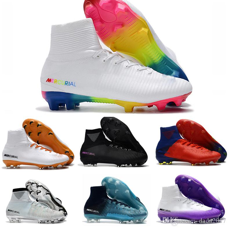 cba56c43666f 2018 Rainbow Cristiano Ronaldo Cr7 Soccer Shoes Original Soccer Cleats  Mercurial Superfly Champions Football Boots Magista Football Shoes Canada  2019 From ...