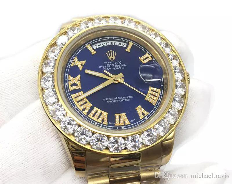 887811fc56 Compre Luxo 43mm Grandes Diamantes Mens Watch Presidente De Ouro Sapphire  Cystal Homens Relógios Movimento Mecânico Automático Masculino Relógio De  Pulso ...