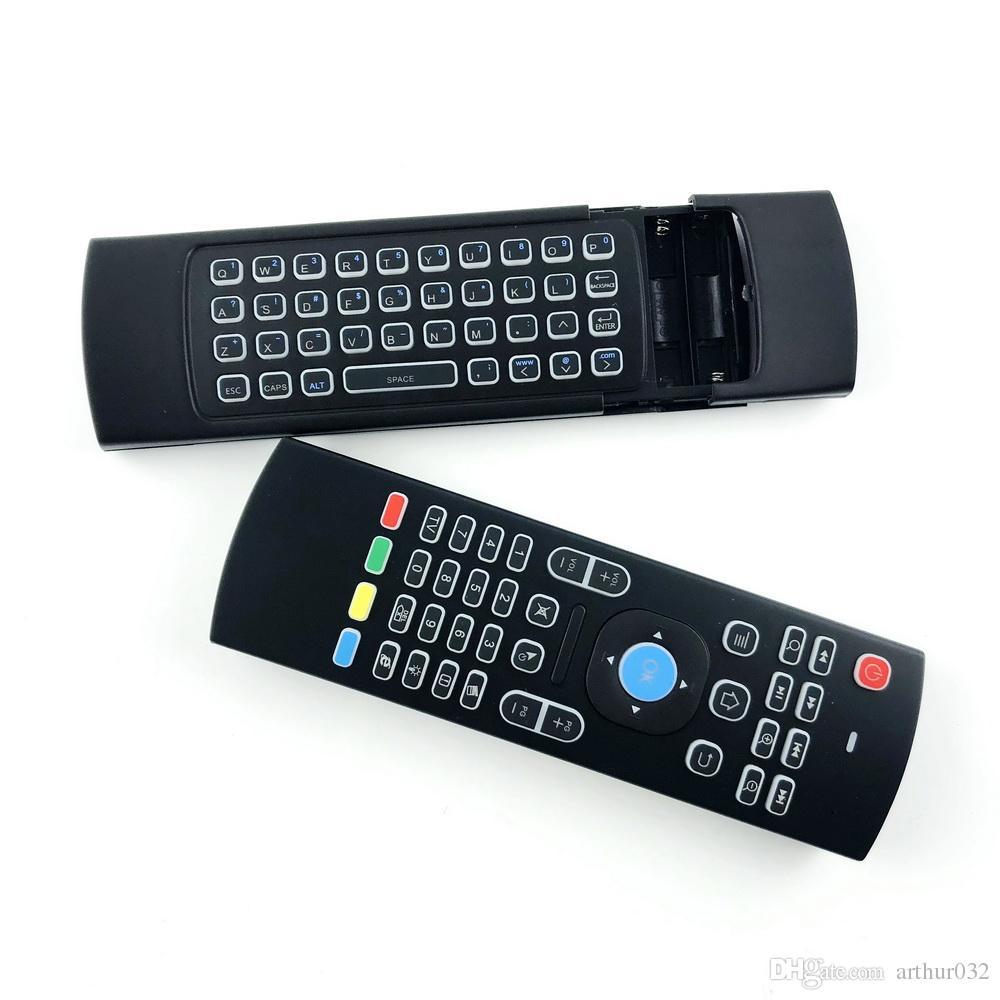 X8 Retroilluminazione MX3 Mini tastiera con apprendimento IR Qwerty 2.4G Telecomando wireless 6Axis Fly Air Mouse retroilluminato Gampad Android TV Box i8