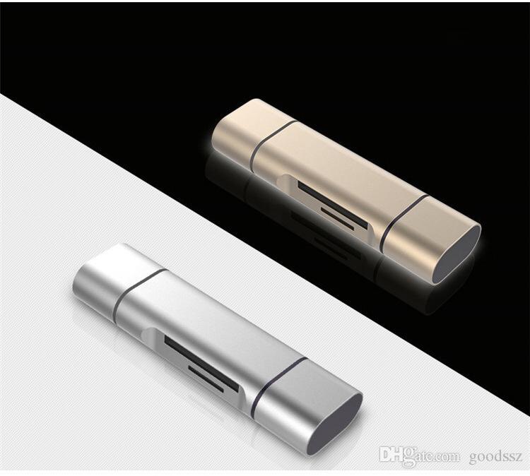 3 en 1 lecteur de cartes en métal USB Type C Micro USB Lecteur de cartes OTG 2 fentes pour SD Lecteur de carte SD SDHC SDHC SDHC SDHC