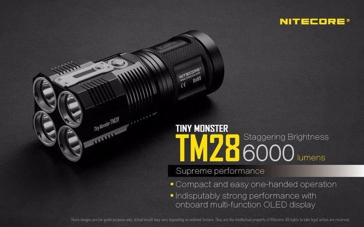 NITECORE TINY MONSTER TM28 6000LM CREE XHP35 HI 4LED Аккумуляторная Hight Light Фонарик ДЛЯ Охоты Снаряжения Открытый Поиск