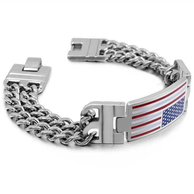 74b099bf8757 Compre CHIMDOU Hiphop Pulseras ID Bandera Nacional Doble Cadena De  Eslabones Hombres Brazalete De Acero Inoxidable Regalo Personalizado