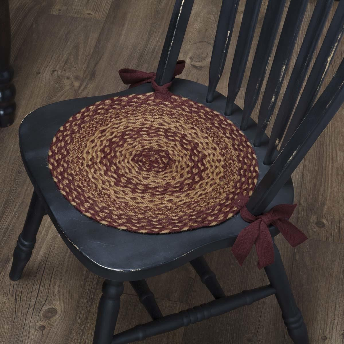 Primitive Tabletop Amp Kitchen Burgundy Tan Jute Red Chair Pad Set