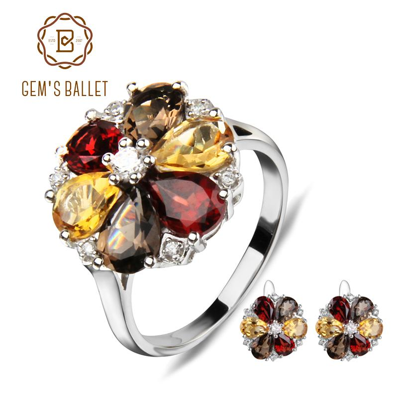 2019 Gem S Ballet Natural Garnet Smoky Quartz Citrine Jewelry Set