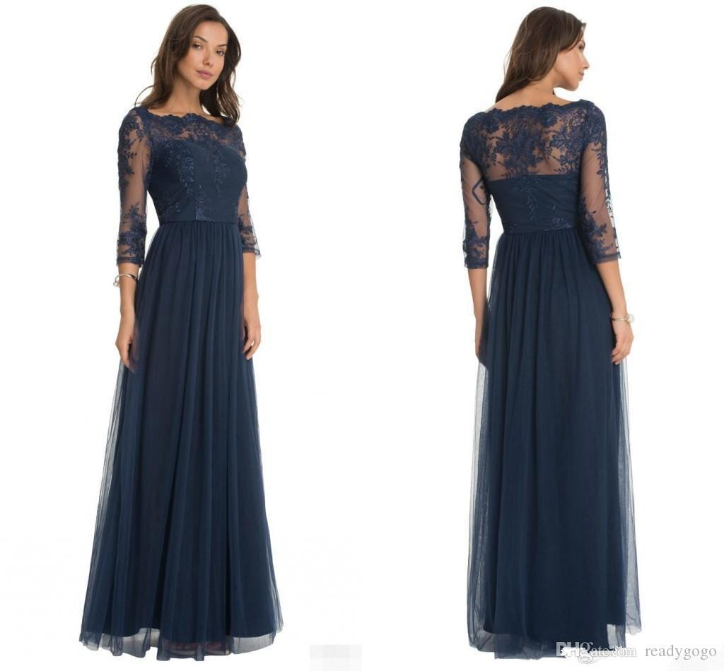 2018 Hot Robe De Soiree Tulle Formal Bridesmaid Dresses Lace Scoop Neck  Sheer Three Quarter Sleeves Floor Length Mother Of The Bride Dresses Violet  ... 3634e0842b13