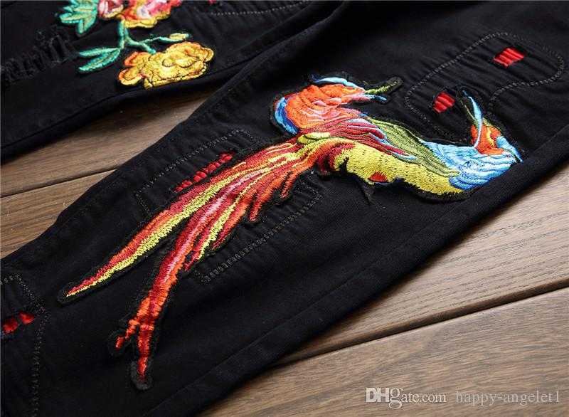 New Men's Phoenix Bird Flowers Embroidery Pattern Jeans Male Full Length Black Elastic Ripped Skinny Jeans Pants
