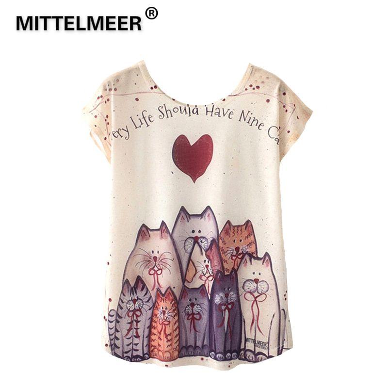 Mittelmeer 2018 été Kawaii Filles étudiant T Shirt Femmes Harajuku Manches Courtes Dessin Animé Chat Flamant Rose Unicornio Cactus T Shirt