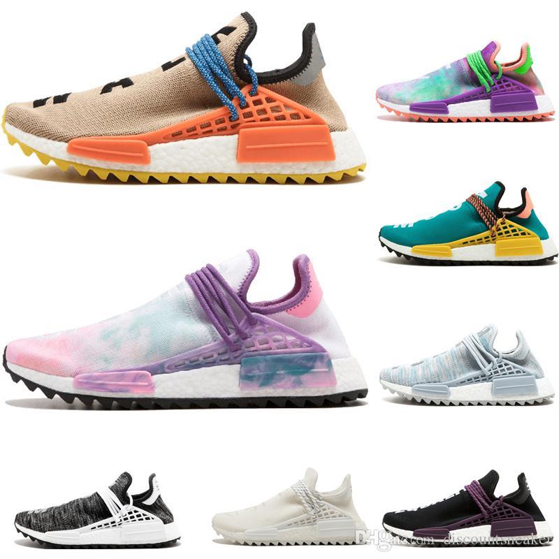 Adidas NMD Human Race Chaussures De Course Pale nude Noir Jaune Noir Blanc Rouge rose bleu Hommes et Femmes chaussures de sport sneakers taille US
