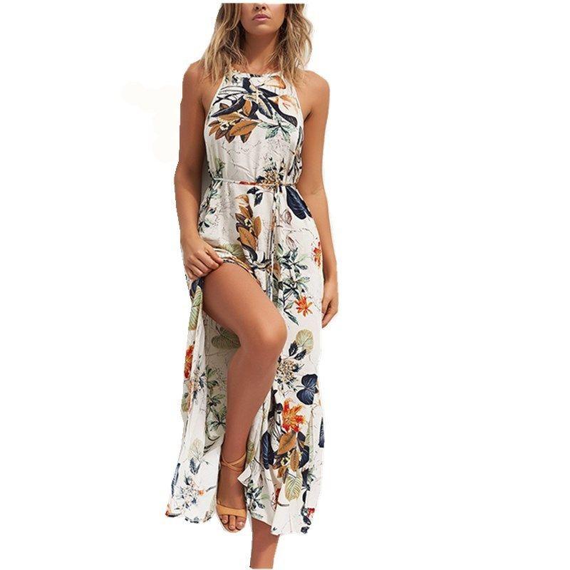 a402f41a53 Good Quality Sexy Dress Summer Women 2019 Long Dress Women Printing Split  Boho Cotton Beach Elegant Ladies Wrap Flower Maxi Dresses Floral Dresses  Beautiful ...
