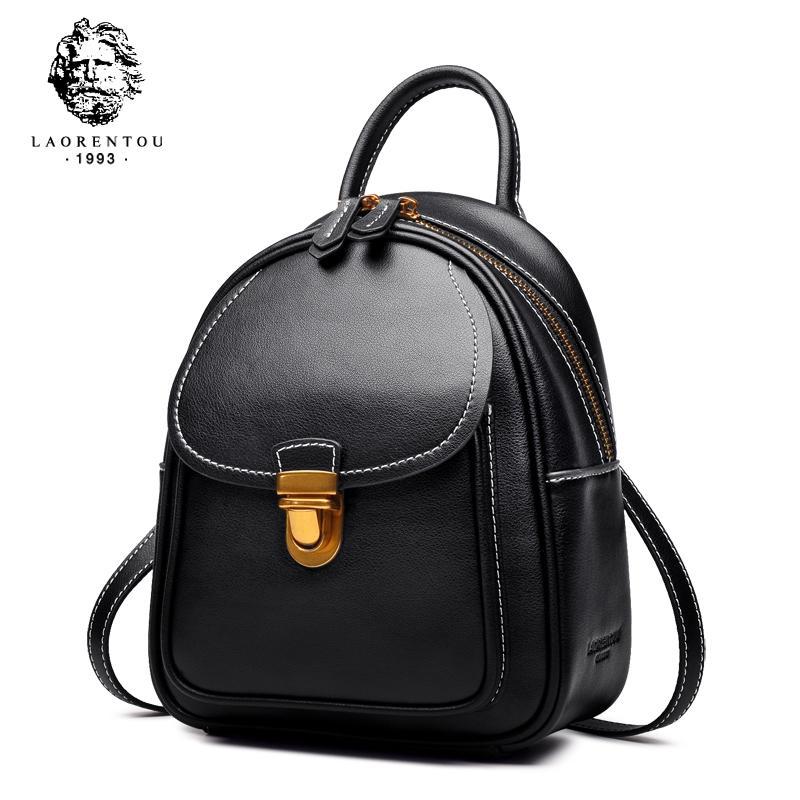 LAORENTOU Women Backpack Ladies Casual School Bag Female Genuine Cow  Leather Backpacks Fashion Shoulder Bag For Teenager GirlsX82401 Jansport  Backpacks ... e90fbae322