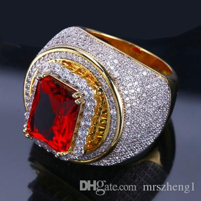 Hot-selling men's gold-plated zircon ring Micro-set ruby hip-hop ring Fashion jewelry