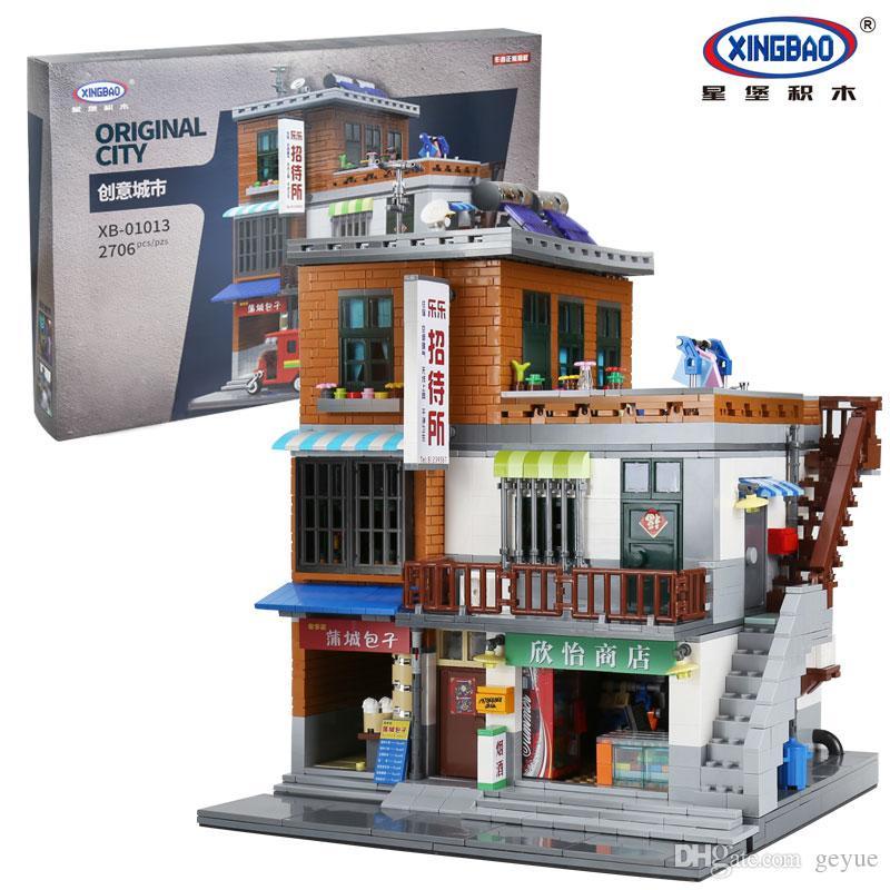 XingBao 01013 Block 2706 Stücke Echte Kreative gästehaus Die Spielzeug und shop Set Bausteinziegelsteine Spielzeug Modell Geschenk