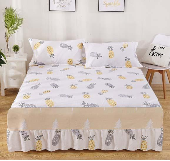 Fruit pineapple with Elastic bandage Bed Skirt cotton Bed Cover Fitted  Sheet Twin Full Queen size 150x200cm 180x200cm 120x200cm