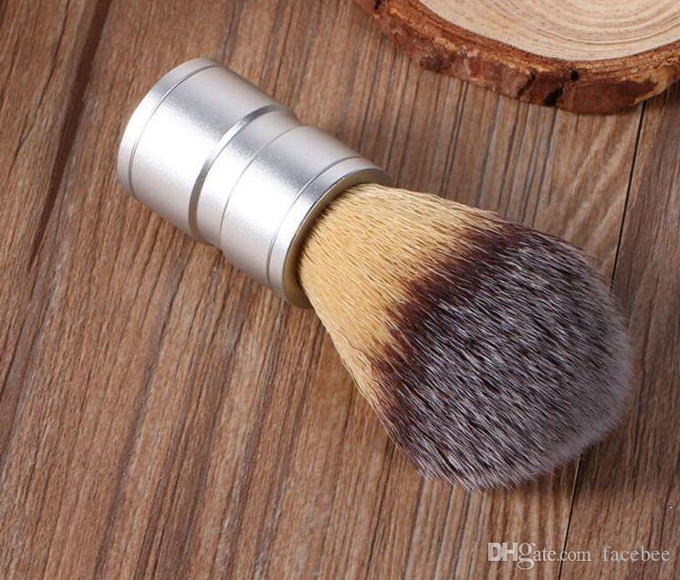 Erkek Tıraş Fırçası Sahte Saç Alüminyum Kolu Gümüş Berber Salon Tıraş Fırçası Yüz Sakal Bıyık Temizleme Fırçası Tıraş Aracı