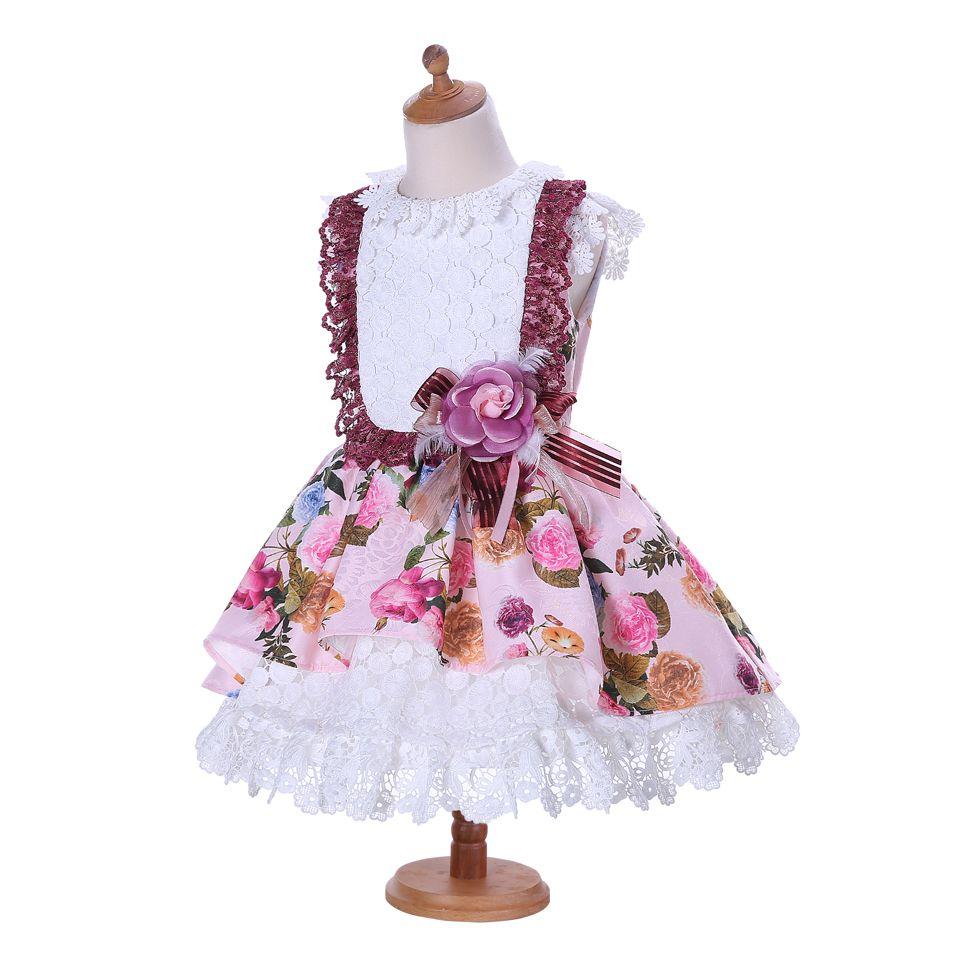0b9cb1748 Pettigirl Pink Girls Dresses Sleeveless Kids Clothes Rose Print Summer Girls  Princess Dress Lace Layer Children Clothing G-DMGD001-1324