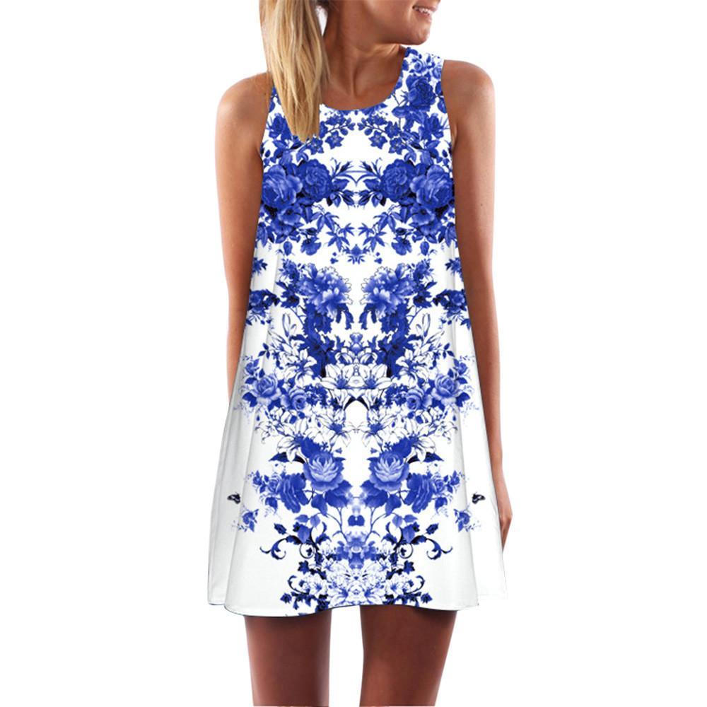 Bohemian Style Women Loose Summer Dress Vintage Sleeveless 3D Floral Print  Short Mini Dresses Woman Dress 2019 Vestiti Donna Online with  29.07 Piece  on ... a83b659eb20