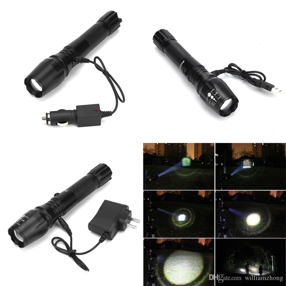 Alonefire G900 CREE XM-L T6 LED Aluminum 5 mode Waterproof Zoomable Flashlight Torch light Can be charged by car