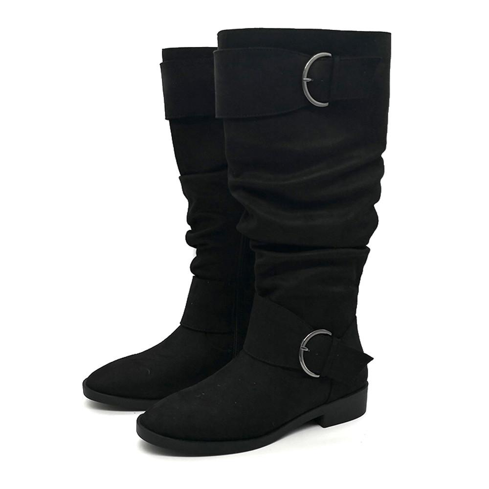 d51fd44df898 Shoes Boots Women S Retro Slouch Non Slip Buckle Shoe Boots Under Knee High  Flat Low Heel Zip Fashion Women 2018NOV3 Hiking Boots Shoes For Women From  ...