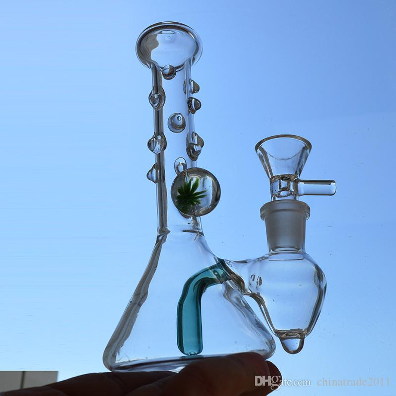 "Heady Beaker Bongs 6"" inch Beautiful Glass Bong Water Pipe Fixed Downstem Bubbler Dab Rigs 14mm Joint Hookah Flower Decoration Oil Rig"