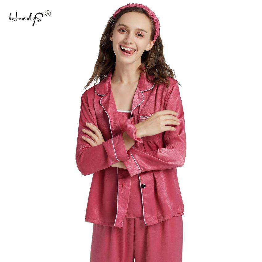 6d78201ce Compre Conjunto De Pijamas De Seda Das Mulheres 7 Peças Set Pijamas  Mulheres Outono Inverno Pijamas De Seda Pijama Casual Confortável Mulheres  Desgaste Da ...