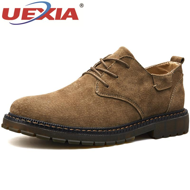 8124cf40a198 2019 UEXIA Winter Ankle Boots Men Casual Shoes Lace Up Autumn Leather Work  Tooling Mens Boots Military Army Botas Black Flats Male Sneakers Shoes For  Sale ...