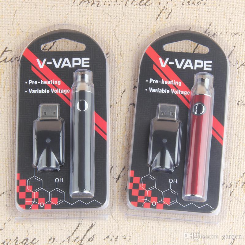 V-VAPE LO Ön Isıtma VV Pil Blister Kiti 280 mAh 650 mAh Değişken Gerilim USB Şarj Ile 510 Balmumu Kalın Yağ Ön Isıtma Için Kartuş
