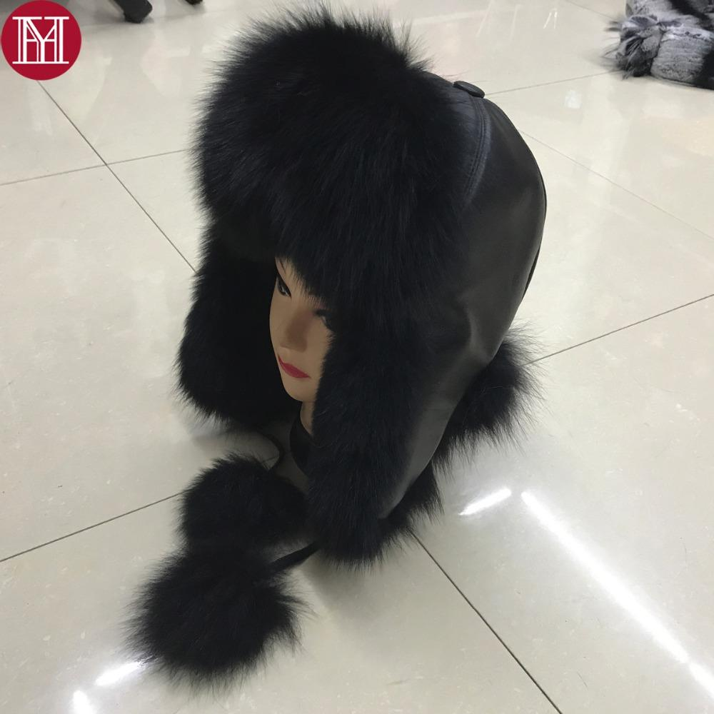 a528028c4c8 2018 Women Natural Real Fox Fur Hat Winter Ushanka Bomber Cap Russia Snow  Wind Thick Warm Fur With Real Sleepskin Leather Caps Fur Hat Fox Fur Hat Hat  ...