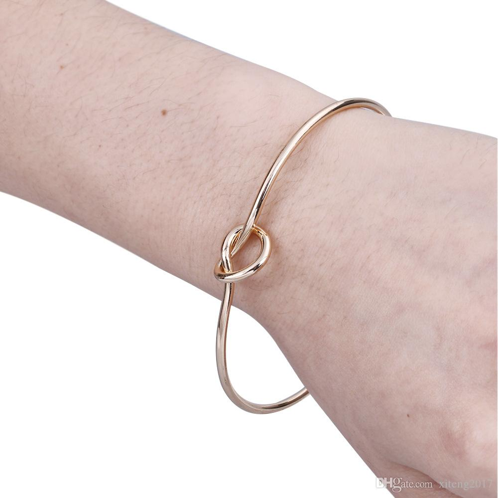 Metal Zinc Alloy Rose Gold Color Tie Knot Bracelet Bangles Simple Twist Cuff Open Bangles Jewelry Adjustable Bangle For Women Jewelry