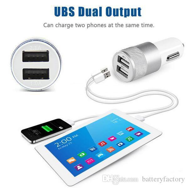 Metal Dual USB Port Billaddare Universal 2.1 En LED Laddningsadapter för IP 6 7 8 Samsung S8 Tablet Nokia