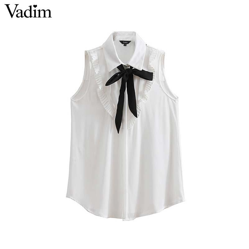 f0f0a721339b89 2019 Vadim Women Ruffled Chiffon Blouses Bow Tie Collar Sleeveless See  Through Shirts Ladies White Office Wear Tops Blusas WA100 From Luweiha, ...