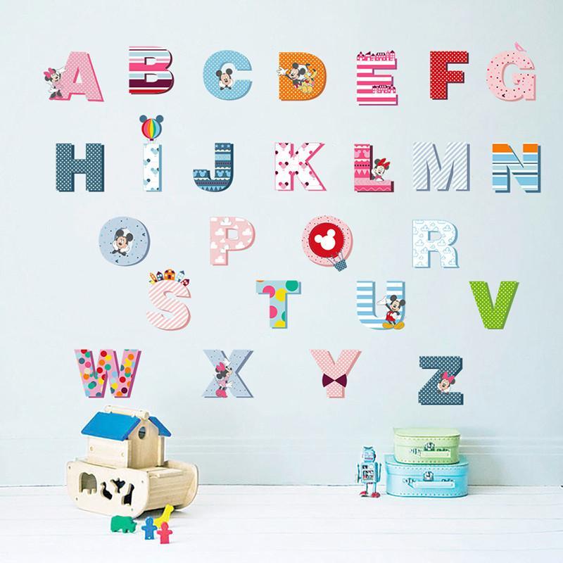 Dekoration Poster Aufkleber Cartoon Bunte Mickey 26 Buchstaben Alphabet Wandaufkleber Für Kinderzimmer Kinderzimmer Dekor Kinder Wand