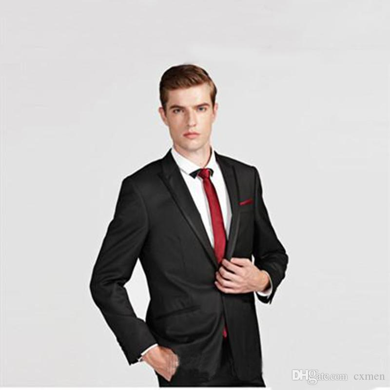 Wedding Outfits For Men.Custom Made Formal Black Men Suits For Wedding Groom Tuxedos Best Man Blazers Jacket 2 Piece Mens Classic Pants Handsome Prom Wear Terno