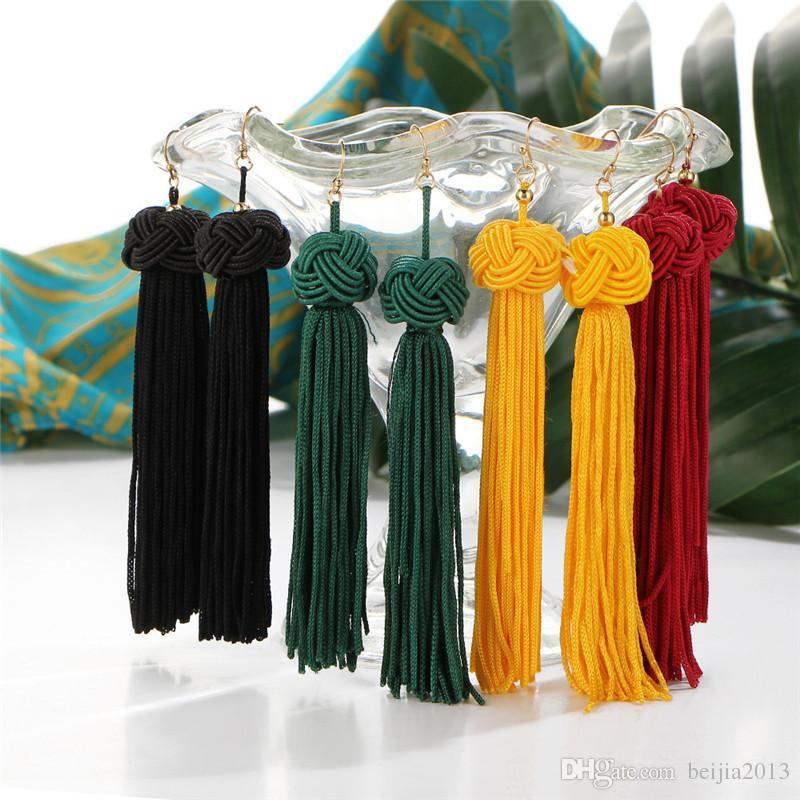 Brincos de Tassel artesanal 5 cores Na Moda Preto Vermelho Amarelo Verde branco Longo Dangles Orelha Broncos De Seda Franjas Jóias Para As Mulheres